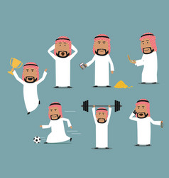 Saudi arabian businessman in different poses set vector