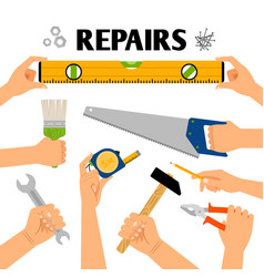 Home repair tools in hands vector