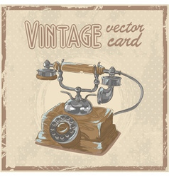 Retro 50s phone stylish vintage postcard vector