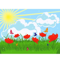 Meadow in early summer vector