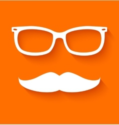 White hipster glasses and mustache vector