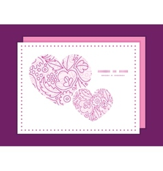 Pink flowers lineart heart symbol frame pattern vector