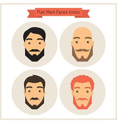 Flat Circle Men with Beard Faces Icons Set vector image