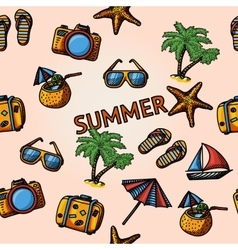 Seamless summer handdrawn pattern with - coconut vector