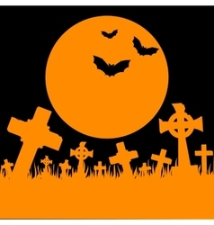 Orange moon cemetery and bats vector