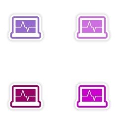 Set paper stickers on white background ecg machine vector