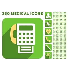Fax icon and medical longshadow icon set vector
