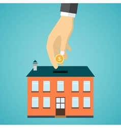 Businessman hand putting coin inside the house vector
