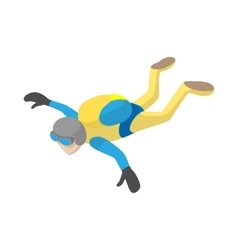 Skydiver in freefall icon cartoon style vector