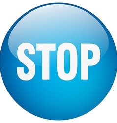 Stop blue round gel isolated push button vector