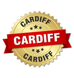 Cardiff round golden badge with red ribbon vector