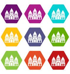Children house castle icon set color hexahedron vector