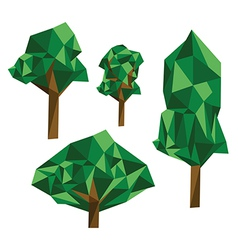 Collection of different origami trees vector image vector image