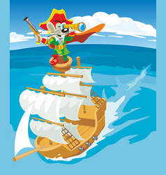Comics mouse pirate sails on a sailboat vector