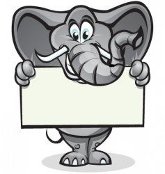 cute elephant holding sign vector image vector image