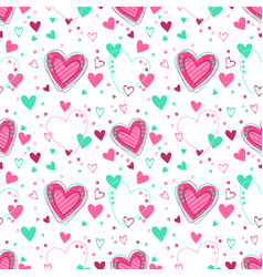 cute seamless pattern with hearts vector image vector image