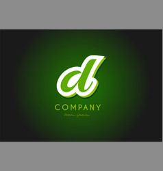 D alphabet letter logo green 3d company icon vector