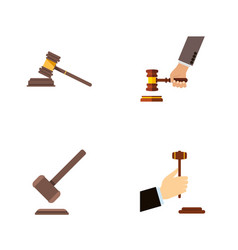 flat icon hammer set of law court tribunal and vector image vector image