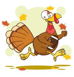 Football turkey bird cartoon character running vector