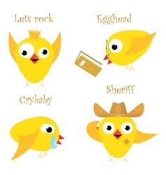 Funny yellow chicken vector