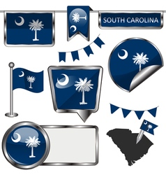 Glossy icons with South Carolinian flag vector image