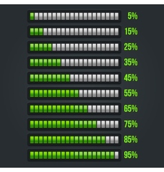 Green Progress Bar Set 5-95 vector image vector image