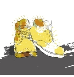 hand drawn graphic Men winter boots on white vector image