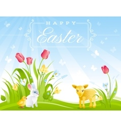 Happy easter banner border sunny day spring vector