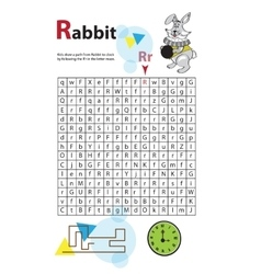 Letter maze r this worksheet helps kids recognize vector