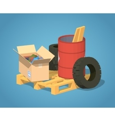 Low poly pile of trash vector