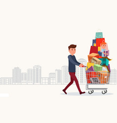 Man with full shopping basket of food and baby vector