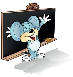 Mouse before Blackboard vector image vector image