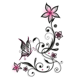 Pink and black flowers vector image