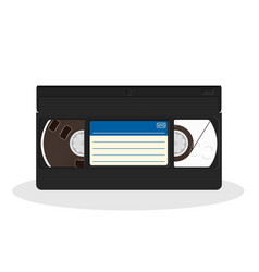 Retro video cassette with blue and white sticker vector