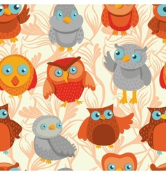 seamless pattern with cute bright owls vector image