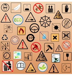 set of packing symbols vector image vector image