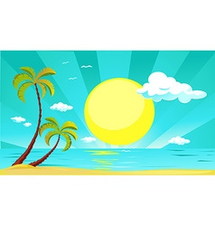 Summer design with sun palm tree beach and sea - vector
