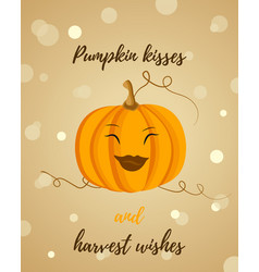 thanksgiving background with pumpkin and text vector image