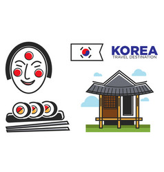 Traditional korean temple and food vector