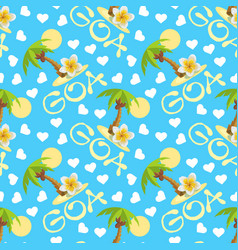 Tropical island with palm tree flower plumeria vector