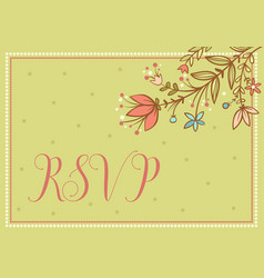 Wedding card with flowers and the words vector
