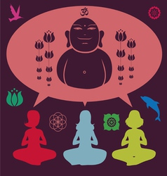 Yoga meditation set vector image