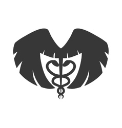 Caduceus wings medical health care icon vector