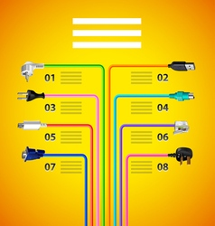 Infographics with plug wire cables on yellow vector