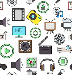 Entertainment colorful pattern icons vector