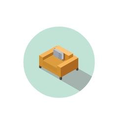 Isometric modern orange comfortable armchair vector