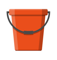 Red plastic bucket with handle vector