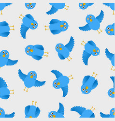 seamless blue bird pattern vector image