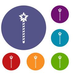 Magic wand icons set vector