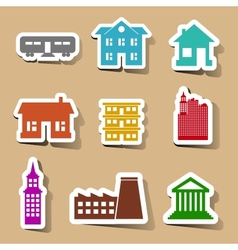 Building icons set on color stickers vector
